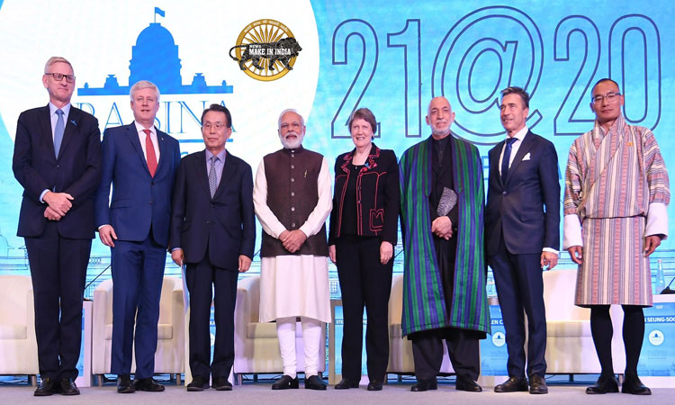 Modi with the global leaders at the inaugural session of Raisina Dialogue 2020