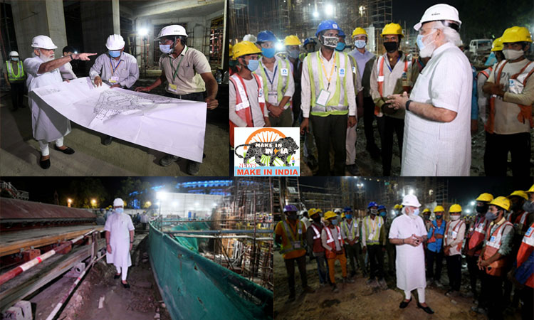 Modi conducts on-site inspection and reviews work of new Parliament building